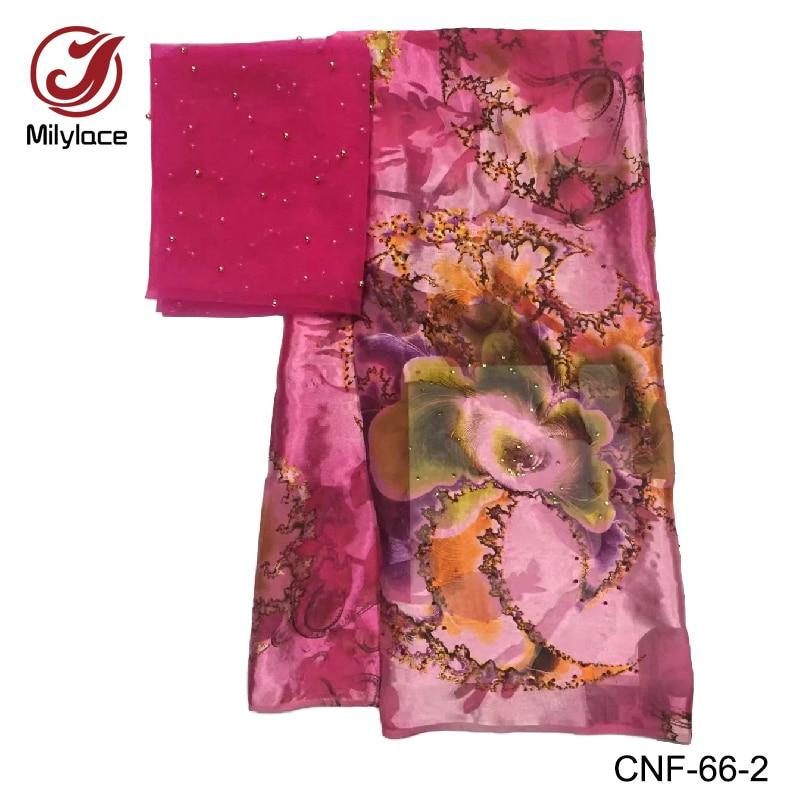 High quality imitate silk fabric 2 in 1 five yards per lot fushia ping african silk