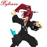 Bybrana banghai длинный хвост волос красное вино парик жаропрочных Синтетические волосы AOTU мира Косплэй парик для Для женщин