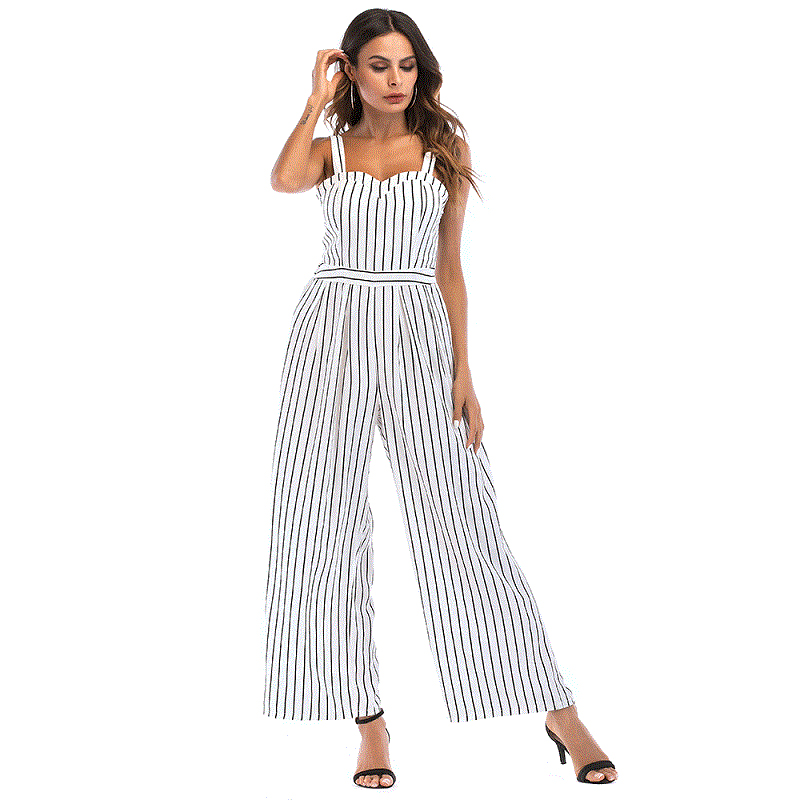 Striped Jumpsuits Women Sleeveless Jumper Striped Loose Hollow Out Bow Jumpsuit Female Summer Backless Sexy Beach