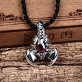 Fashion 925 Sterling Silver scorpion Pendant silver inlaid Red Garnet Pendant for lvoers