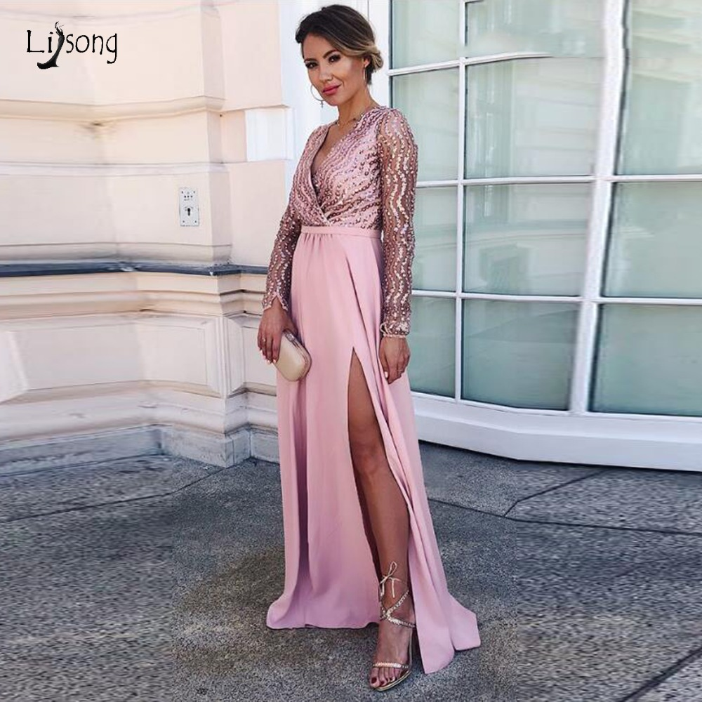 Ekegant Sparkle Sequined Long   Prom     Dresses   2019 Full Sleeves Sexy V-neck High Side Split Formal Party   Dress   Pink   Prom   Gowns