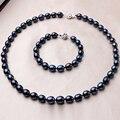 Lujo Negro 100% Sistemas de la Joyería de Perlas de Agua Dulce Naturales Mujeres Moda baño de Oro 45 cm Collar 18 cm Pulsera Regalo para La Madre