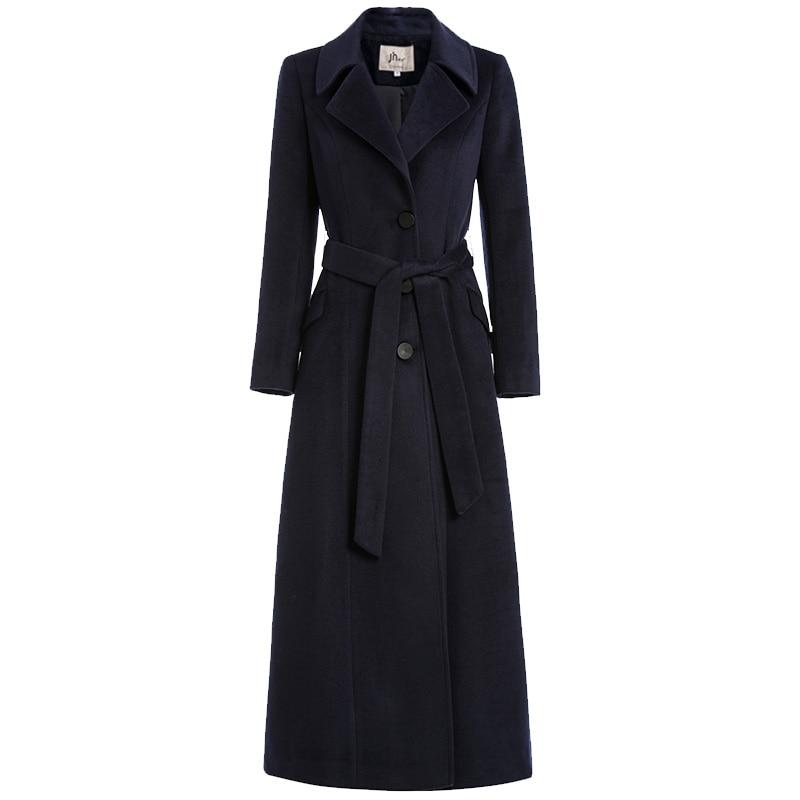 Mantel Warme Colour Lange Vintage Dicke red Blue Einreiher Mäntel Black Klassische navy Frauen Wolle Woll caramel Winter Mode Elegante Gürtel SHxwqBEOWF