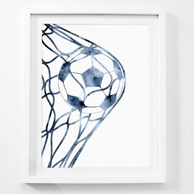 Goal Soccer Canvas Art Prints Modern Poster Boys Room Decor , Watercolor Football Art Painting Home Room Wall Picture Decoration