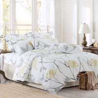 100 Cotton Tree Floral Print Brief Hotel Bedding Set Twin Queen King Size White Bed Sheet