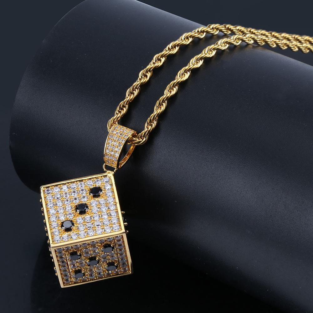 Pendentif dés hip hop bijoux zircon noir blanc collier pour hommes en or et argent avec glace