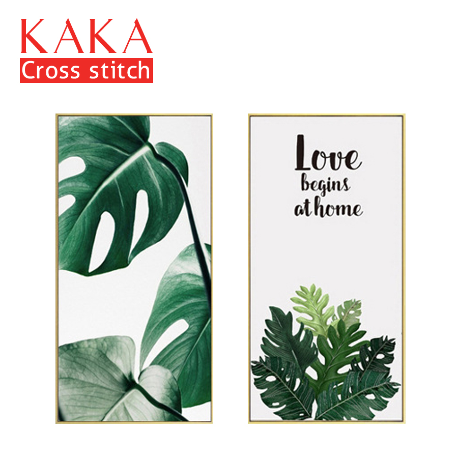 KAKA Cross stitch kits Embroidery needlework sets with printed pattern,11CT canvas,Home Decor for garden House,5D Plants LeavesKAKA Cross stitch kits Embroidery needlework sets with printed pattern,11CT canvas,Home Decor for garden House,5D Plants Leaves