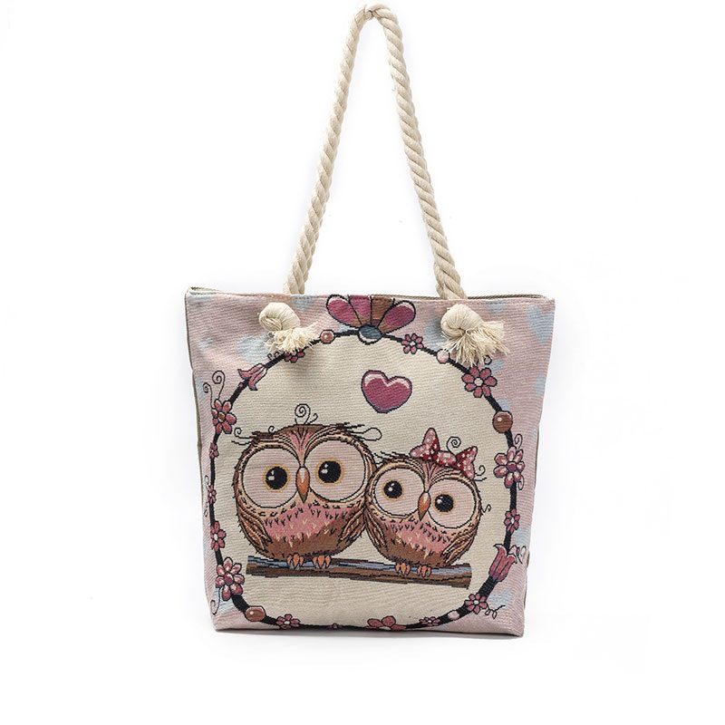 New cute Women Quality goods supply big eyes owl jacquard canvas big bag beach bag canvas bag cheap welcome purchase dropshiper