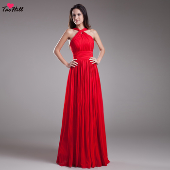 TaoHill Bridesmaid Dresses Plus Size A-line Halter Backless Chiffon Red Bride Maid Dresses for Weddings