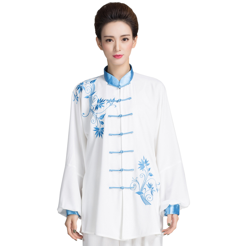 Blue And White China Embroidery Long Sleeve Taiji Clothing Kung Fu Uniform Martial Arts Tai Chi Suits Wushu Clothes