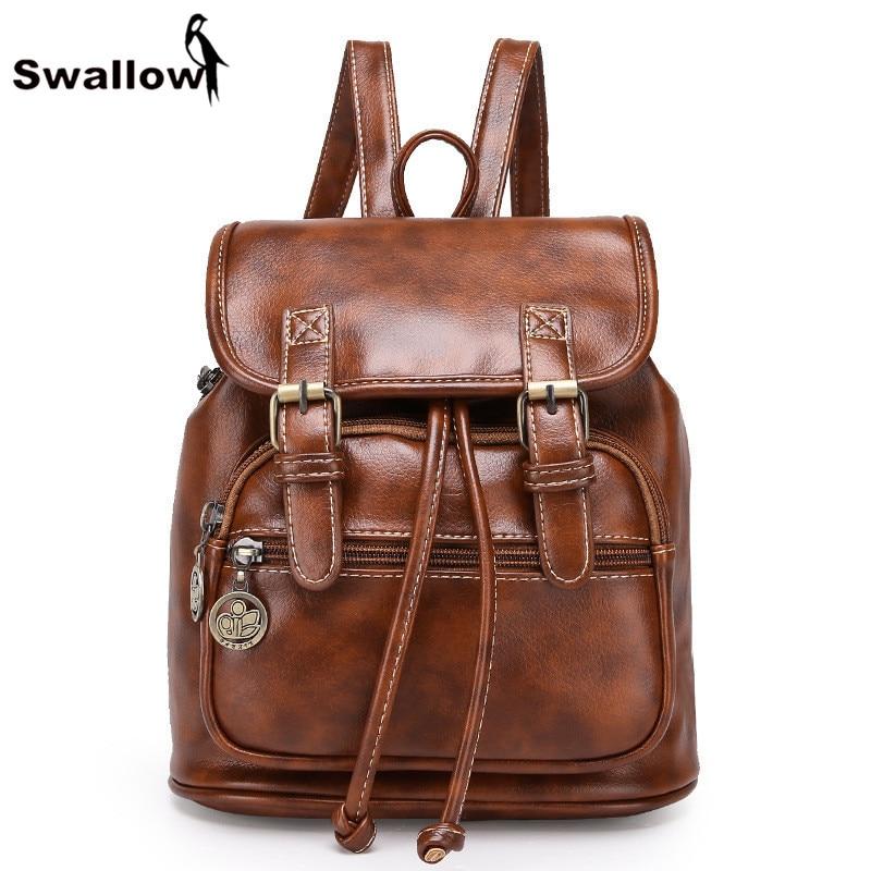 SWALLOW Drawstring Women Backpack Leather Backpacks For Teenage Girls School Bag Vintage Casual Daypacks Mochila Feminina