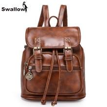 Ласточка Drawstring женщин рюкзак кожаные рюкзаки для девочек-подростков школьная сумка винтажные свободного покроя Mochila Feminina BOLSOS