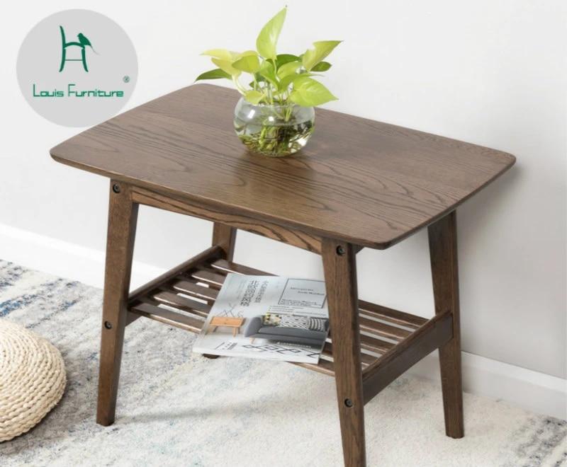 louis fashion solid wood japanese style modern minimalist sofa side table fashion small apartment living room log furniture