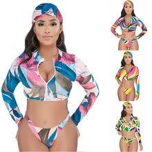 d04b577558d3da 3 Pieces Women Print Bikinis Set 2018 New Swimsuit Women Swimwear Sexy  Bikini Long Sleeve Zipper Crop Tops Bathing Suit Biquinis