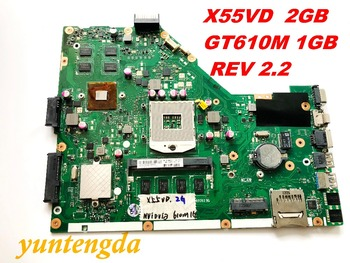 Original FOR ASUS X55VD  laptop motherboard X55VD  2GB   GT610M 1GB REV 2.2  tested good Free shipping