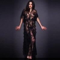 섹시한 긴 Nightdress 여성 새로운 우아한 블랙 레이스 투명 분할 이국적인 섹시