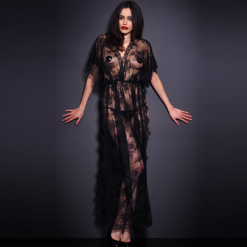 Sexy Long Nightdress Women New Elegant Black Lace Transparent Split Exotic Lingerie Sexy Nightgowns Long Sleepwear