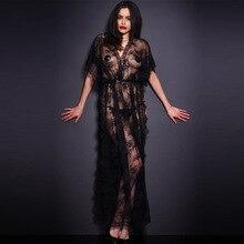 Sexy Longa Camisola Mulheres Novo E Elegante Renda Preta Transparente Divisão Exótico Lingerie Sexy Nightgowns Sleepwear Longo