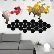 12Pcs 3D Cermin Hexagon Vinyl Removable Stiker Dinding Decal Dekorasi Rumah Seni Diy Kamar Cermin Stiker Emas Home dekorasi(China)
