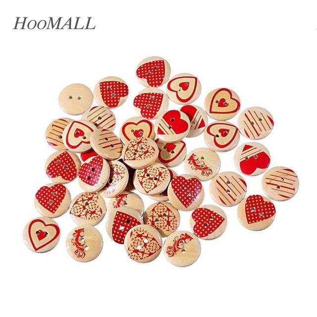 Hoomall Marca 50 Unids 20mm Corazón Botones Decorativos Patrón de Corazón 2-agujeros Botones de Madera Mezclados Cupieron la Costura de Scrapbooking del Arte de DIY