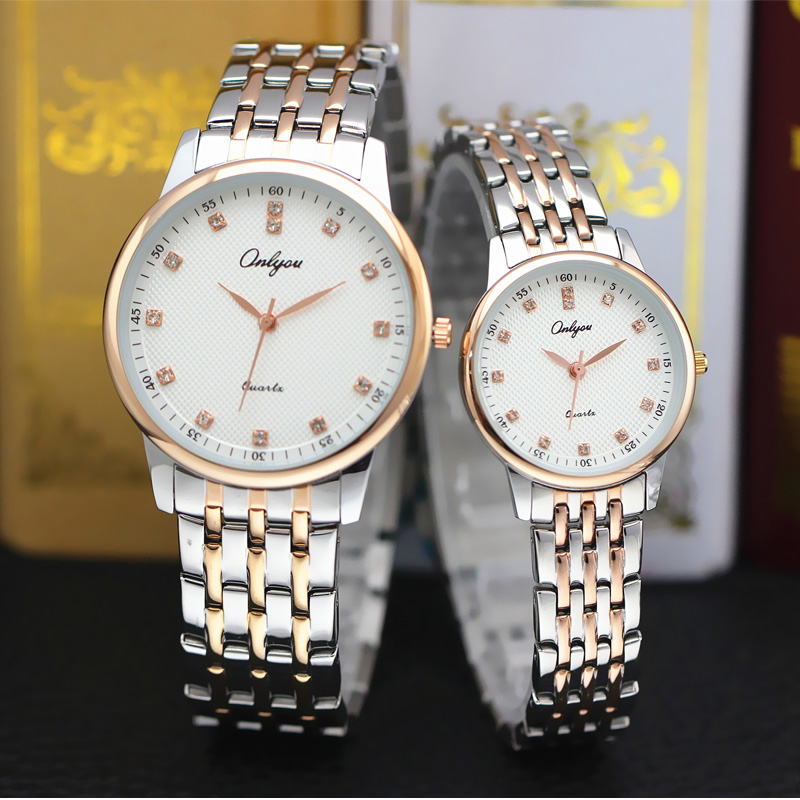 Onlyou Luxury Brand Ladies Dress Watches Women Men Quartz Watch With Diamond Steel Gold Wristwatch Male Female Clock Watch 8897 onlyou brand luxury watches womens men quartz watch stainless steel watchband wristwatches fashion ladies dress watch clock 8861