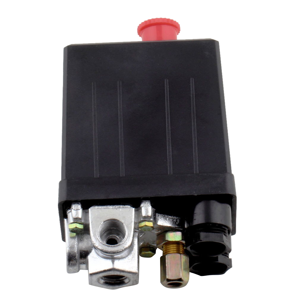 SHGO HOT-Heavy Duty Air Compressor Pressure Switch Control Valve 90 PSI -120 PSI HS Black heavy duty air compressor pressure control switch valve 90 120psi 12 bar 20a ac220v 4 port 12 5 x 8 x 5cm promotion price