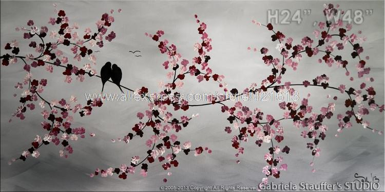 Birds Painting Modern Tree Asian Blossom Zen Wall