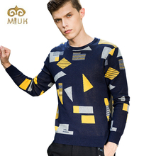 Miuk 2017 Argyle O-neck Knitted Cotton Sweater for Man Plus Size Design Full Sleeve Creative 3XL Sweater