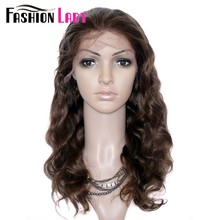 FASHION LADY Brazilian Remy Hair Body Wave Wig 16inch Full Lace Wigs Human Hair With Adjustable Band And Baby Hair(China)