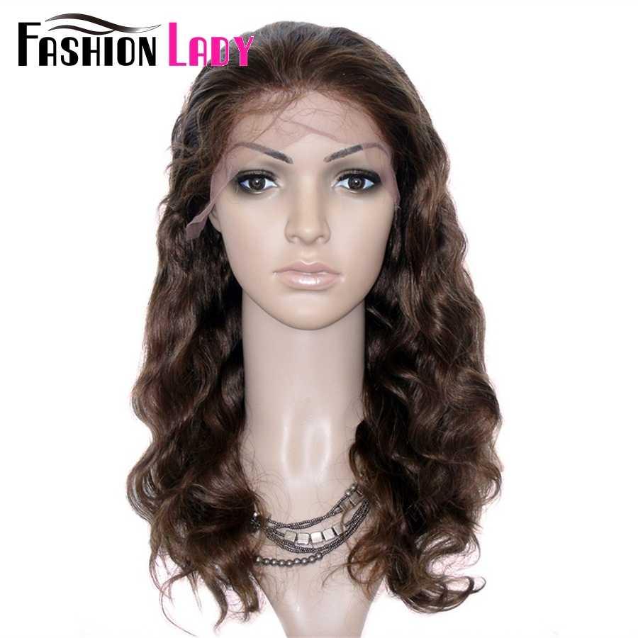 Peluca brasileña de la onda del cuerpo del pelo Remy DE LA SEÑORA DE LA MANERA 16 pulgadas pelucas completas del cordón del pelo humano con la banda ajustable y el bebé pelo