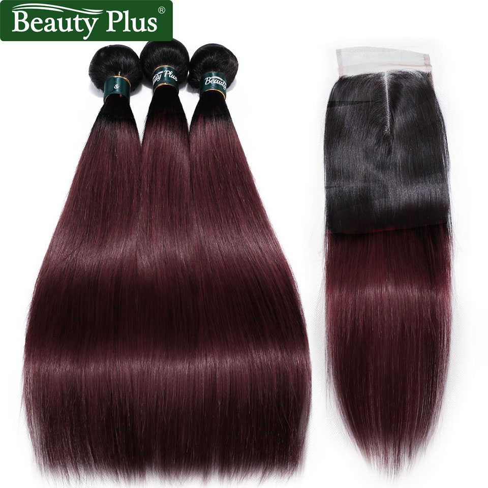 99J Dark Burgundy Bundles With Closure Baby Hair Beauty Plus Remy Brazilian Straight Ombre Human Hair