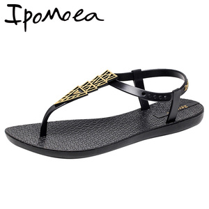 Image 5 - Женские пляжные сандалии Ipomoea, вьетнамки на плоской подошве в богемном стиле, модель SH041401 на лето, 2020