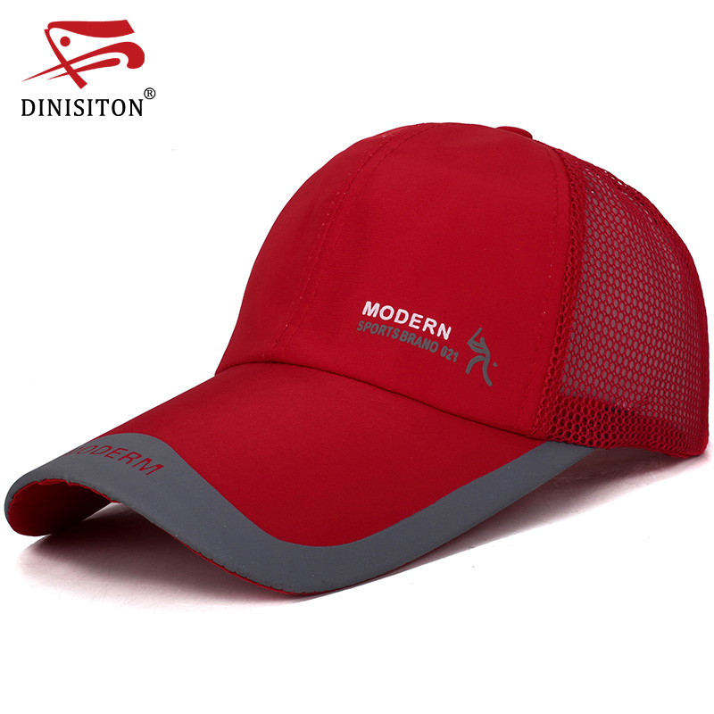 DINISITON 2018New Men's Breathable Mesh Hats Male Sport Solid Color Bone Hats Women Casual   Baseball   Hats Brand   Baseball     cap   CC93