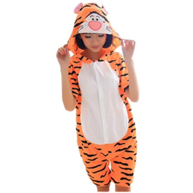 Cartoon Anime tigger Cosplay Costume Summer Jumpsuit Short Sleeve Animals Bear Tiger Pajamas Pyjamas Onesie for Adult Sleepwear