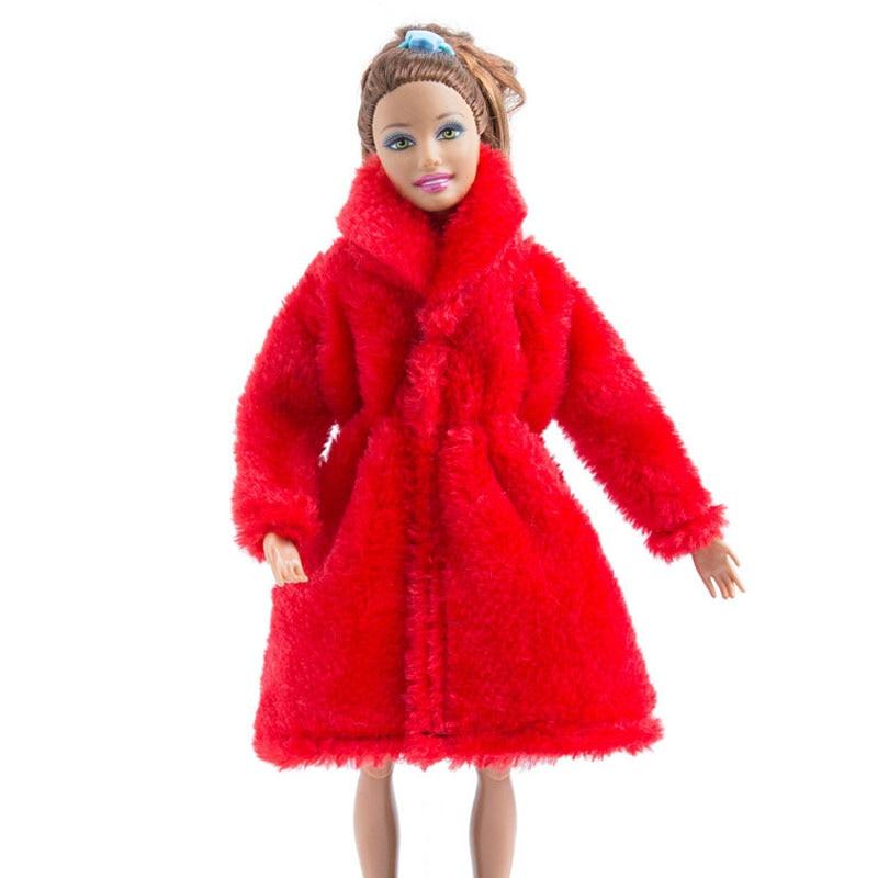 Mini Fur Coat Winter Warm Fur Overcoat for 1//6 Dolls Clothing-Purple Red