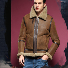 Men s genuine shearing sheepskin leather bomber coat military army style jacket for male winter warm