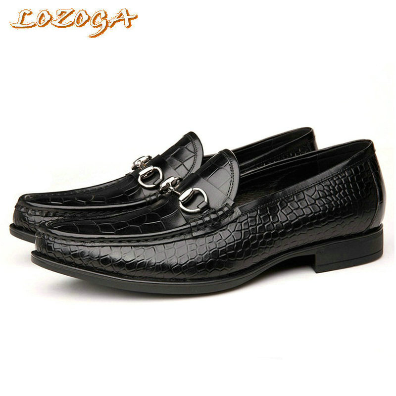 High quality shoes men casual shoes genuine leather shoes alligator chaussure homme black shoes slip-on flats zapatos size 38-44 vintage genuine leather shoes men slip on brogues dress shoes size 38 43 chaussure homme quality wedding shoes for men flats f31