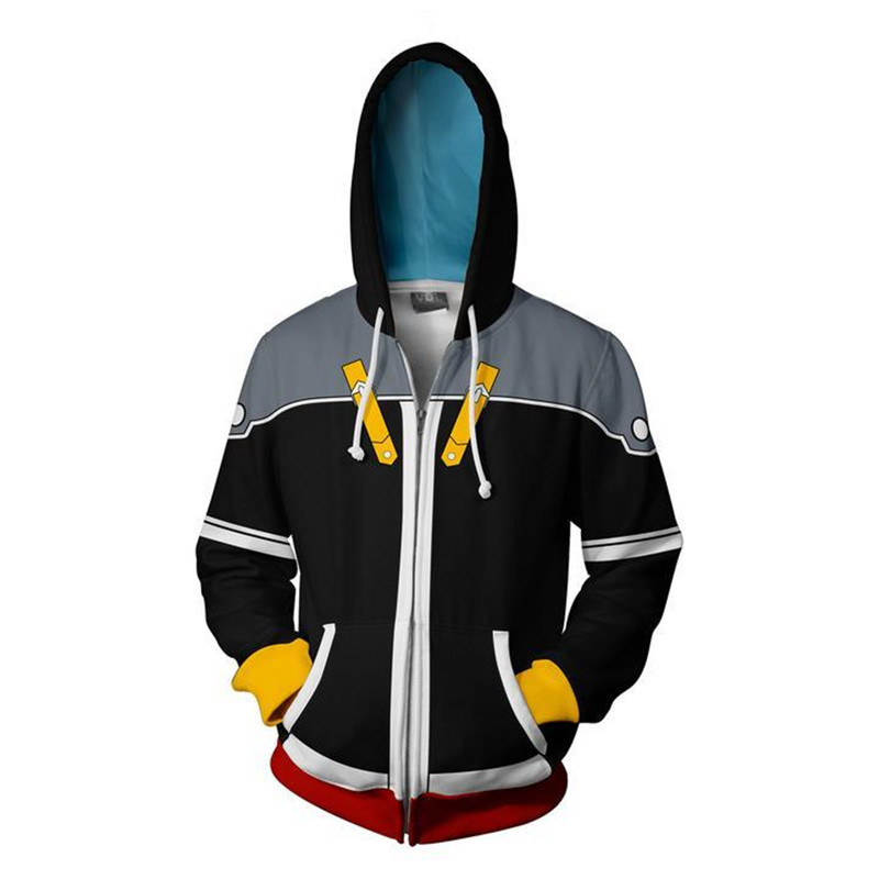 Harajuku Japan Anime Kingdom Hearts Cosplay Print 3D Zipper Hoodies Men/Women Streetwear Jackets High School Boy Fashion Clothes