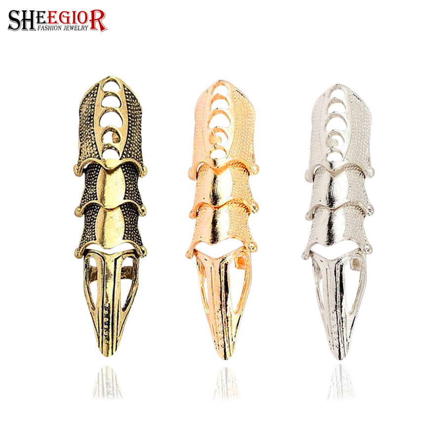 Vintage long rings for women Punk Gold Silver Bronze plated big joints ring men fashion jewelry lovely alloy anillos bague femme