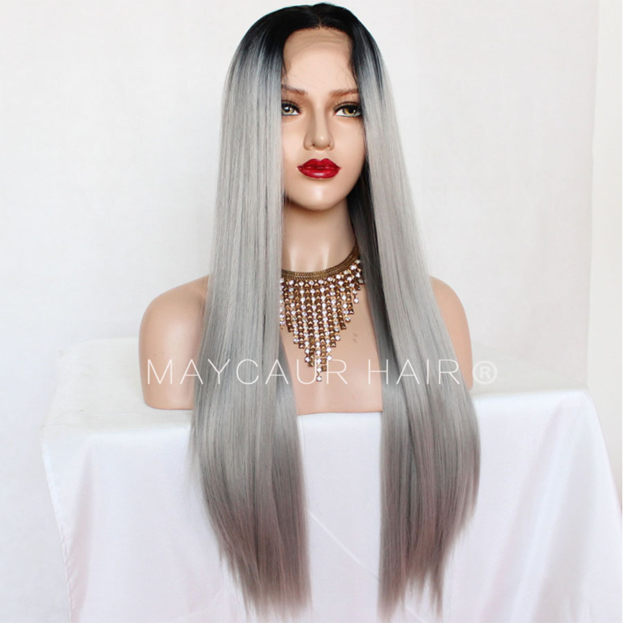 _0013_Maycaur 180 Density Gray Natural Straight  Synthetic Lace Front Wigs Black Grey Color Hair Natural Hairline (7)