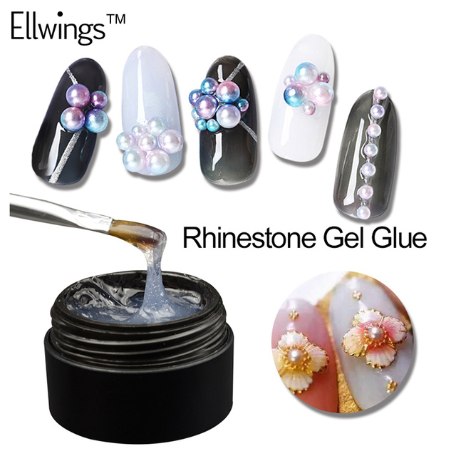 Ellwings Glitter DIY Nail Art Rhinestone Gel Glue UV Gel Nail Polish ...