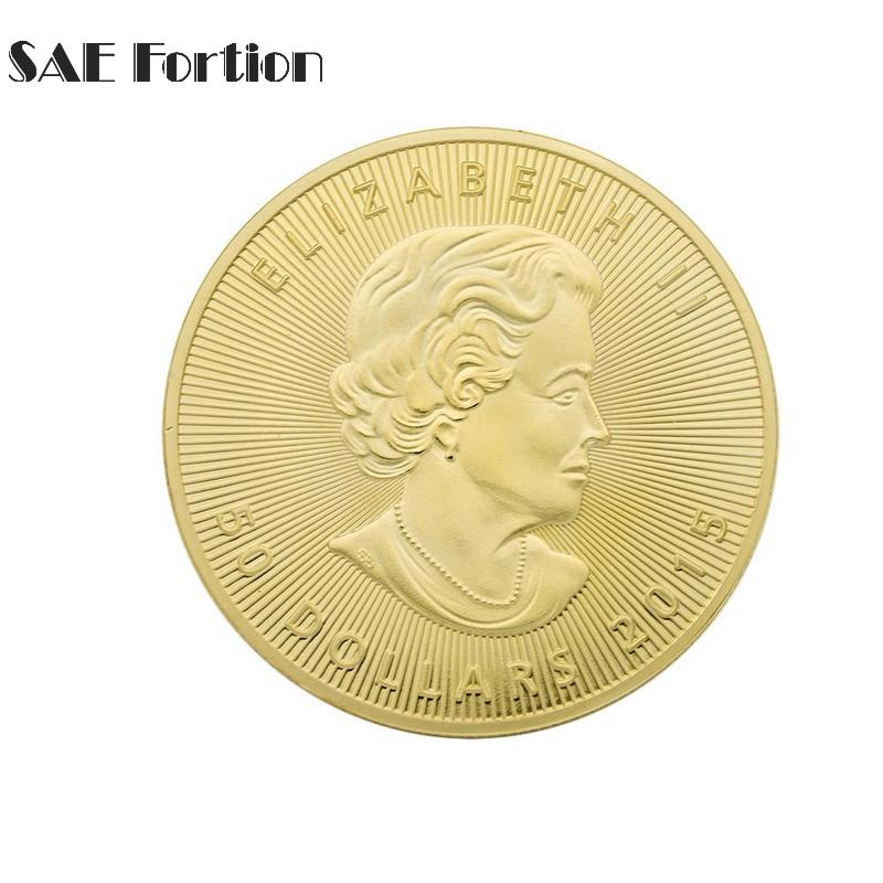 Gold Plated Coin Canada Maple Leaf Elizabeth Coin Souvenir For Collectibles Gift JNB0486