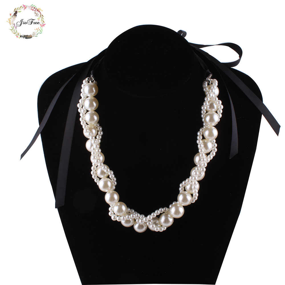 New Hot Sell Simulated Pearl Jewelry Trendy Party Necklaces & Pendants Ribbon Short Chokers Statement Necklaces For Women