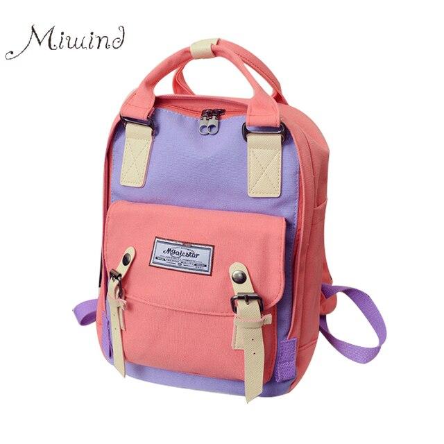 2016 элегантное старинные дизайнер hasp пояса лоскутное холст рюкзак женщины мужчины школа сумка ноутбук ноутбук рюкзаки mochila