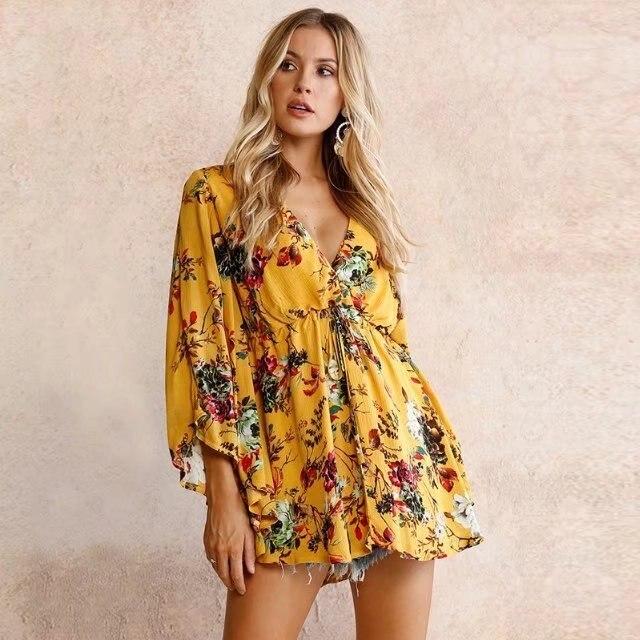 2018 Jaune Cou Lâche Boho Vestidos De Souris Grande Floral Plissée Manches Femmes Chic Impression Robe Taille Vacances V Chauve Yyb7f6gv