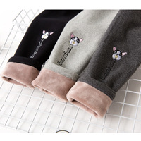 2018 New Embroidery Puppy girls warm velet winter leggings girl clothe girls leggings kids leggings baby girl winter clothes