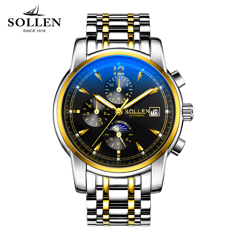 все цены на SOLLEN watches automatic mechanical watches sapphire steel watch men clock waterproof multi - functional men wristwatches онлайн