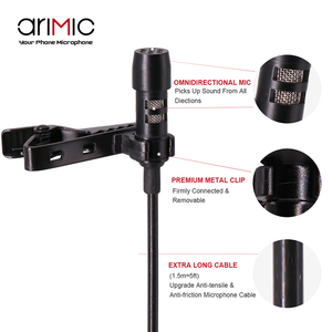 Image 3 - Arimic Lavalier Lapel Clip on Omnidirectional Condenser Microphone Kit with cable adapter & windshield for iPhone Samsung