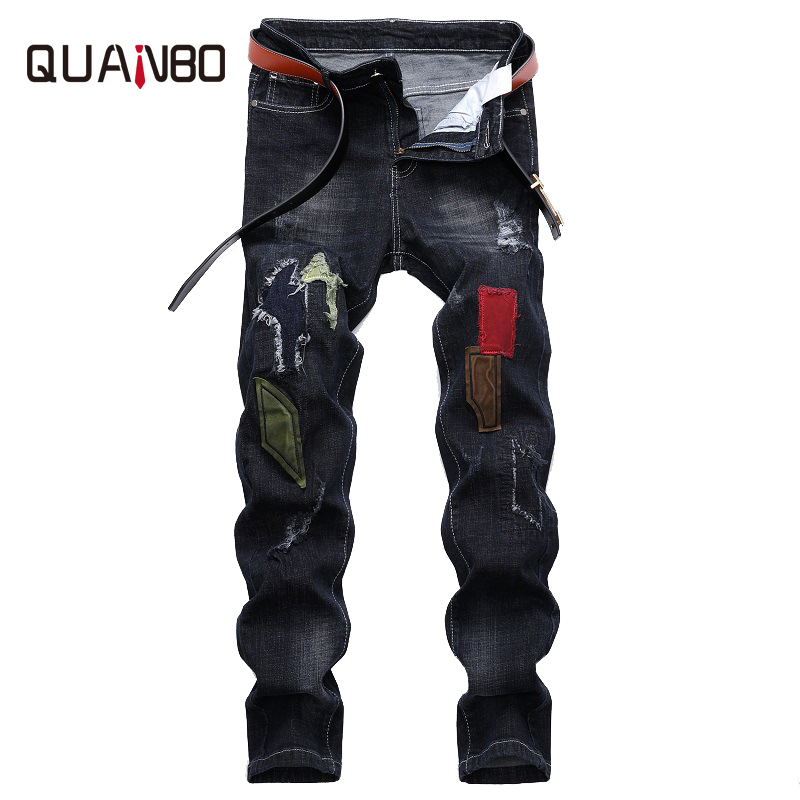 QUANBO Brand Clothing 2018 New Arrival Patchwork Men's Jeans Fashion Street Ripped Jeans Slim Fit Stretch Denim Quality Pants