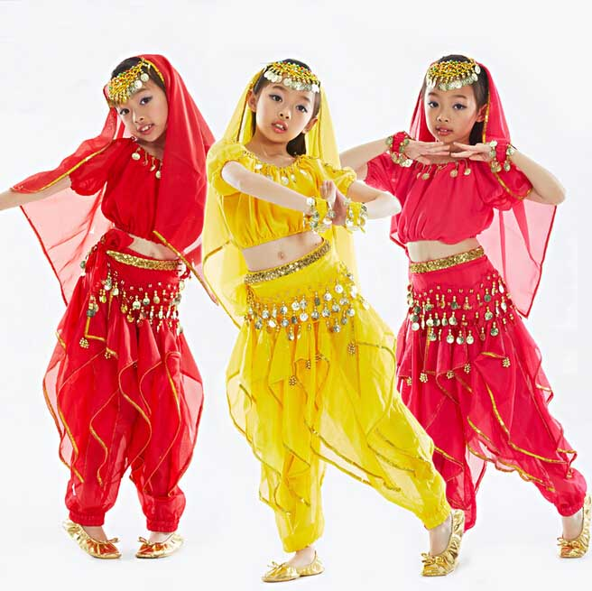 ④djgrster Girls Belly Dance Costume Child Bollywood Dance Costumes